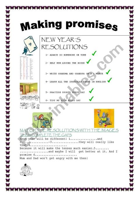 years resolutions making promises esl worksheet