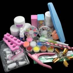 Nail art set acrylic liquid glitter powder file brush form