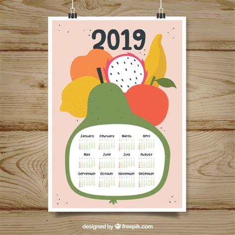 bonito calendario frutas descargar vectores gratis