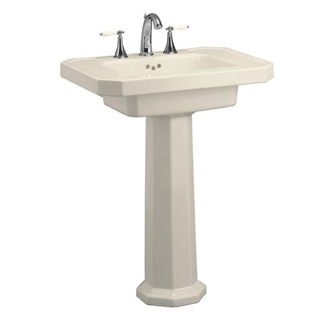 kohler pedestal sink lowes shop kohler kathryn 35 in h almond fire clay pedestal sink