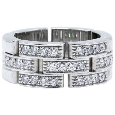 cartier maillon panthere diamond wedding band ring 18k white gold links and chains for sale at