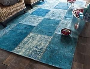Tapis Salon Bleu Canard : tapis bleu tapis bleu patchwork saint maclou exercice de style adopter le bleu chambre ado ~ Melissatoandfro.com Idées de Décoration