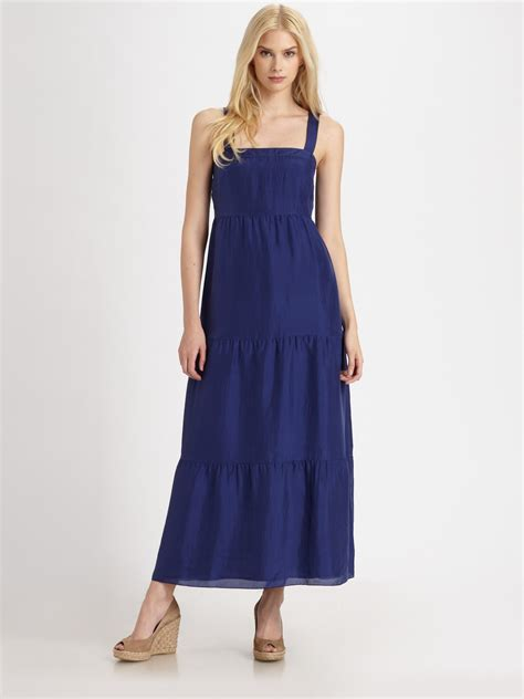 lyst eileen fisher silk maxi sundress  blue