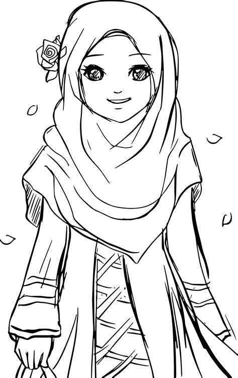 cool islamic muslim wears hijab girl coloring pages