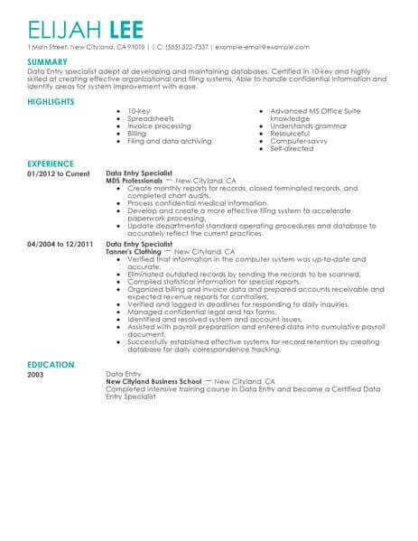 Data Entry Description For Resume by Best Data Entry Resume Exle From Professional Resume