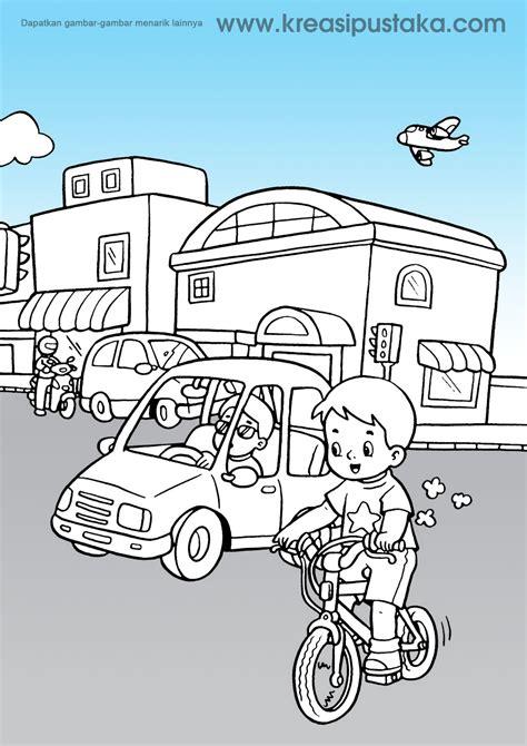 mewarnai gambar kendaraan roda tiga