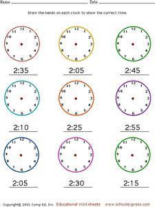 telling time drawing hands   clock worksheet  pre