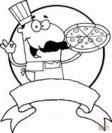Pizza Chef Coloring Clipart Italian Pages Cartoon Drawing Printable Clip Royalty Cook Cartoons sketch template
