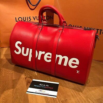 louis vuitton  supreme keepall  duffle bag red lv monogram  bandouliere ebay
