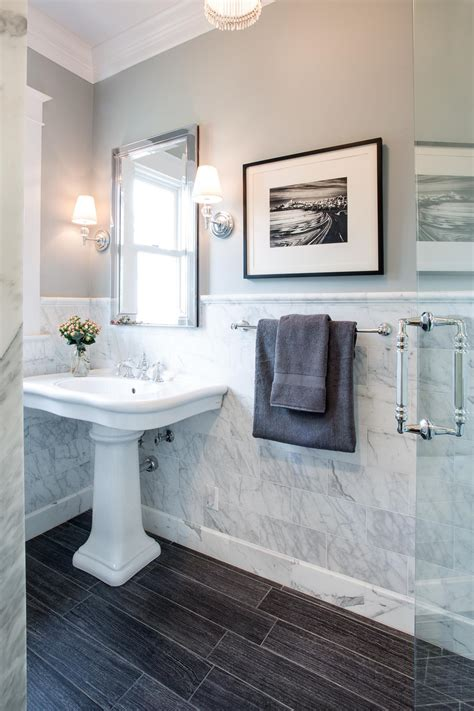 traditional bathroom  marble tile wall hgtv