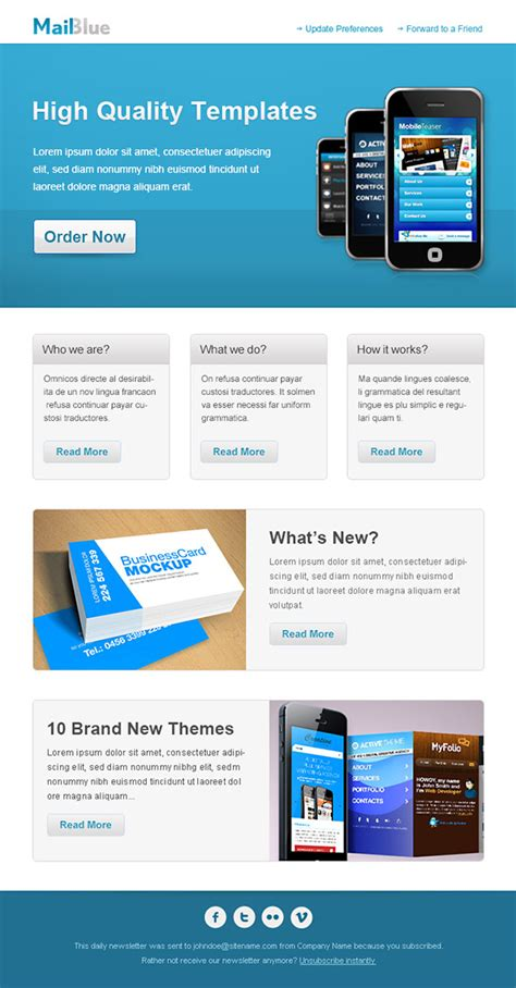 business email template  blue colors  mail templates