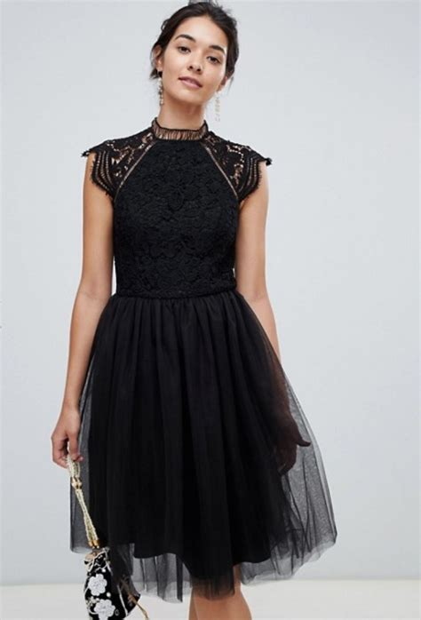 chi chi london    lace dress  tulle skirt black fashion style fan