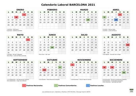 El calendario laboral de este 2021 ya está definido. Calendario Laboral 【BARCELONA 2021】 para IMPRIMIR