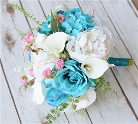 Teal Turquoise Peonies, Roses And Callas Bouquet Wedding