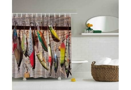shower curtain hooks fishing lures and hooks shower curtain great gift for Fish