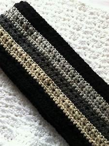 Crochet Men's Scarf in Black Brown and Tan Crochet