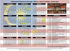 Malaysia Stock Exchange 2018 2019 Holidays MYX