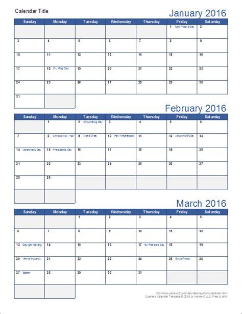 printable quarterly calendar template