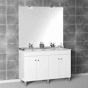 Meuble Salle De Bain Double Vasque 120 Cm : meuble salle bain laque blanc ~ Edinachiropracticcenter.com Idées de Décoration