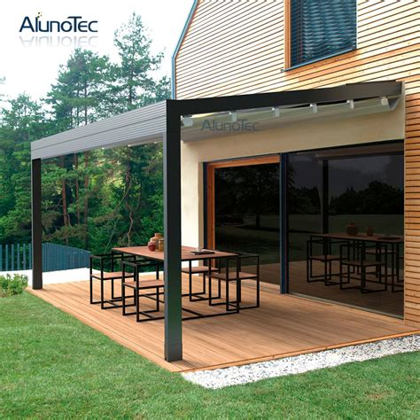 Gazebo 4x4 by 4x4 Retractable Awning Sliding Roof Gazebo With Curtain