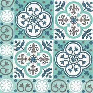 Tissu Carreau De Ciment : serviette paviot imprim carreaux de ciment turquoise en paquet de 20 usage unique ~ Teatrodelosmanantiales.com Idées de Décoration