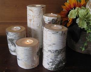 5 birch bark candle holders by mygardengate on etsy With kitchen colors with white cabinets with birch bark candle holders