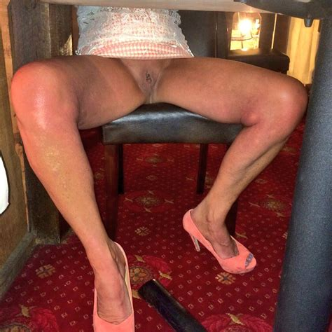 Sexy Milf Sue On Twitter Under Table Flashing Pussy In