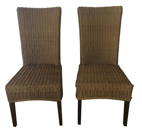 pottery barn dining chairs pottery barn rattan dining chairs pair chairish