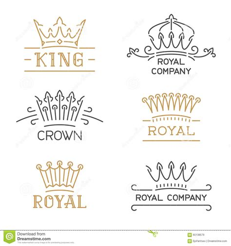 crown logo set luxury crown  trendy  style stock