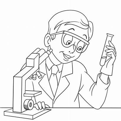 Coloring Scientist Pages Chemistry Chemical Cartoon Illustrations