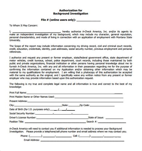 background check form    documents