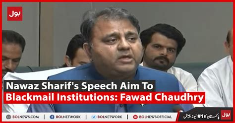 Nawaz Sharif's Speech Aims To Blackmail Institutions ...