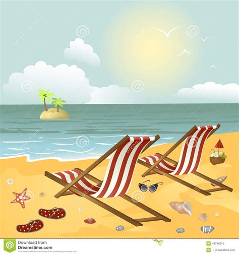 chaise plage two chaise longue on the stock vector image 49746910