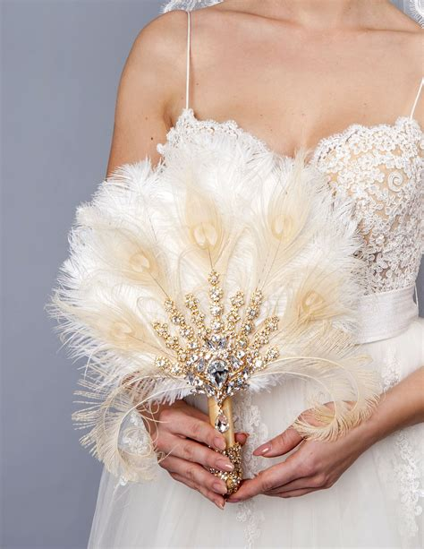 Gold Bridal Brooch Bouquet Ostrich Big Alternative Feather