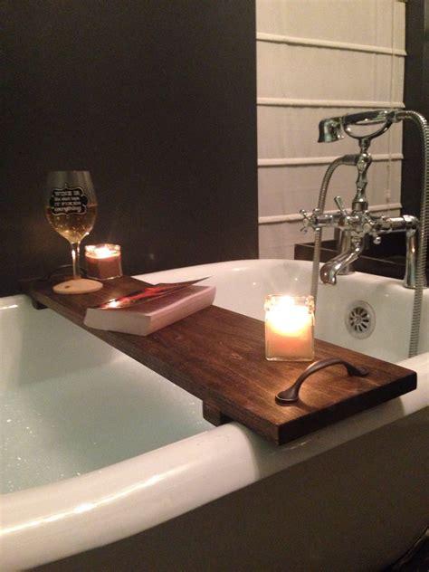 diy bathtub caddy with reading rack rustic bathtub caddy bath tray poplar wood with handles