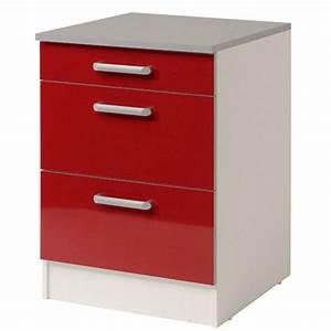 Meuble Bas A Tiroir : meuble bas 3 tiroirs 60 cm shiny rouge ~ Edinachiropracticcenter.com Idées de Décoration