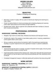 basic warehouse resume templates functional resume sle shipping and receiving