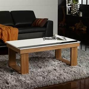 Table Bois Pied Blanc : table basse relevable plateau blanc et pied bois d co et saveurs ~ Teatrodelosmanantiales.com Idées de Décoration
