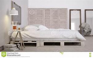 Camera Da Letto Di DIY Progettazione Elegante Di Eco Bianco Scandinavo Immagine Stock