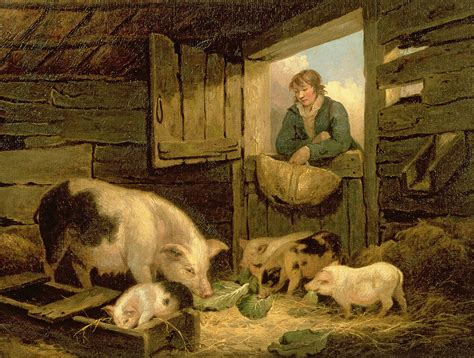 A Boy Looking Into A Pig Sty Painting by George Morland