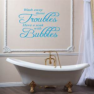 Bath with bubbles quotes for Wall art stickers for bathrooms