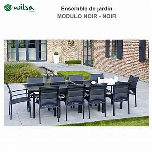 Salon De Jardin 10 Places : salon de jardin modulo 6 10 places noir f10 ~ Teatrodelosmanantiales.com Idées de Décoration
