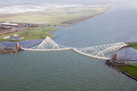 Maeslantkering storm surge barrier in use, Netherlands ...