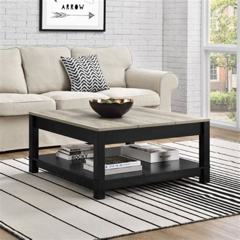 Browse a large selection of farmhouse accent table designs, including unique occasional tables, coffee tables, console tables and more, in all sizes, shapes and finishes. Farmhouse Coffee Table Rustic Square Bottom Storage Black Distressed Wood Tables | Home coffee ...