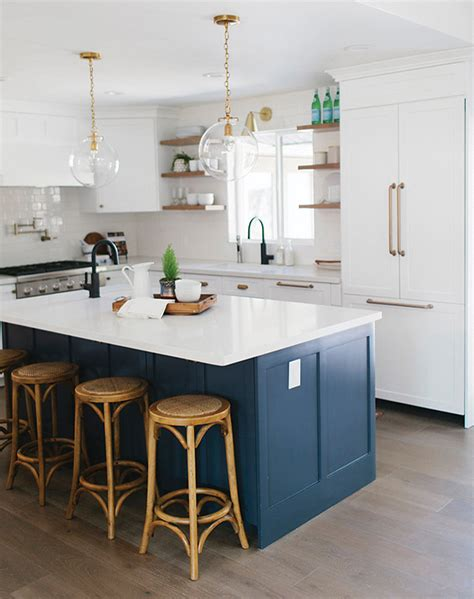 small butcher block kitchen island out the paint blue kitchens are très chic right now
