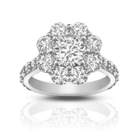 2 90 ct cut diamond cluster engagement ring