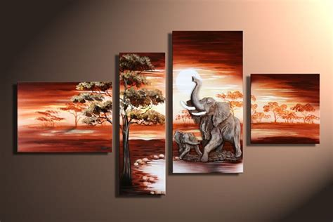 piece art sets hand painted african elephant canvas