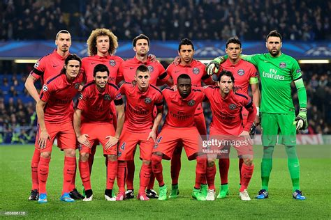 The PSG team pose for the cameras prior to kickoff during ...