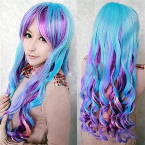 New Long Rainbow Colors Wavy Curly Lolita Hair Full Wig