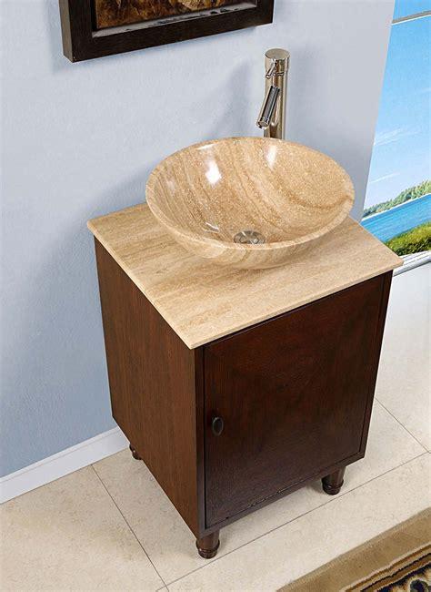 Silkroad 20 Inch Travertine Vessel Sink Vanity, English